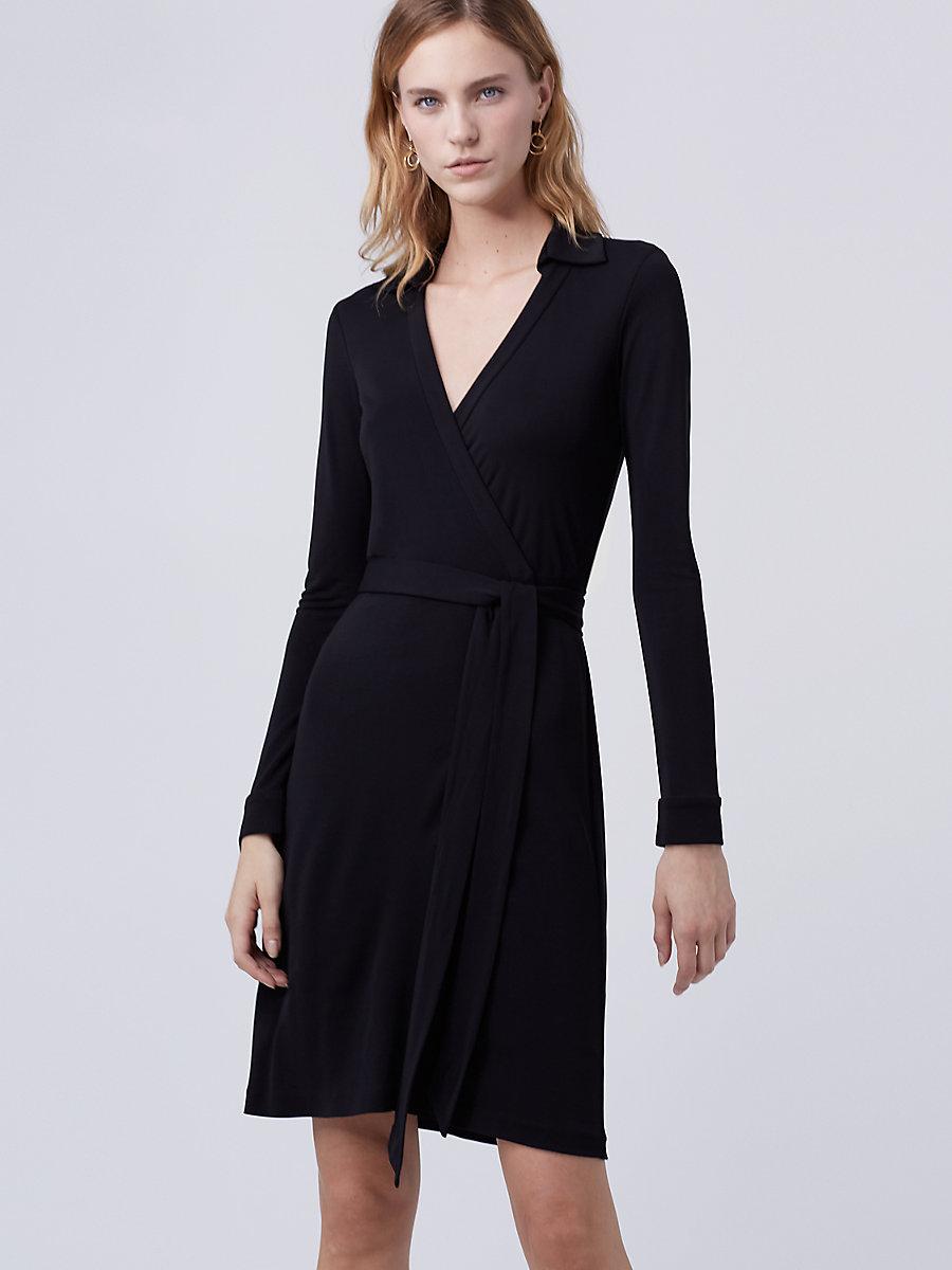 New Jeanne Two Matte Jersey Wrap Dress in Black by DVF