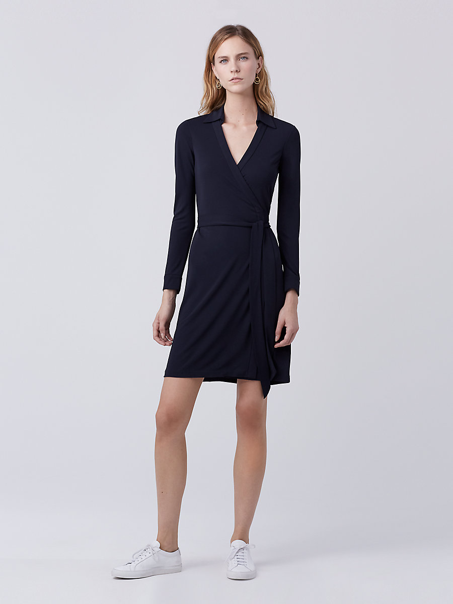 New Jeanne Two Matte Jersey Wrap Dress in Midnight by DVF