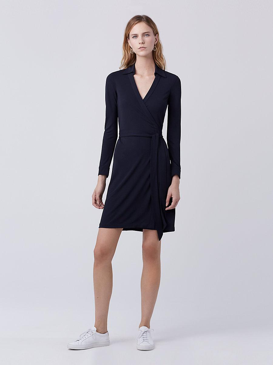 New Jeanne Two Matte Jersey Wrap Dress in Midnight by DVF