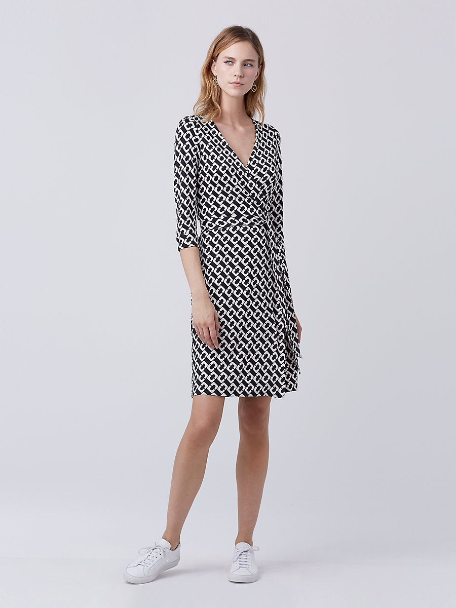 New Julian Two Silk Jersey Wrap Dress in Chain Link Medium by DVF