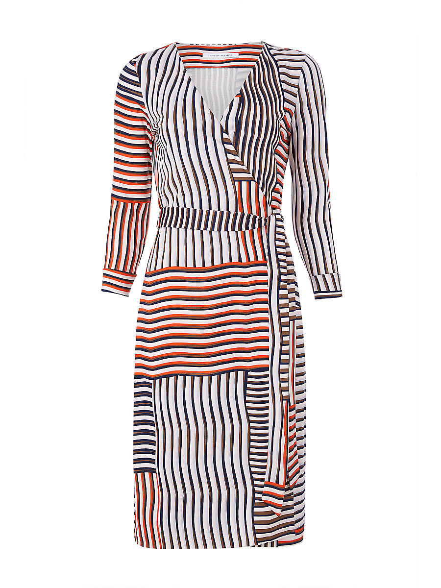 New Julian Two Silk Jersey Wrap Dress in Woven Collage by DVF