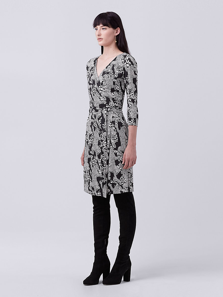 New Julian Two Silk Jersey Wrap Dress in Climbing Leopard Black by DVF