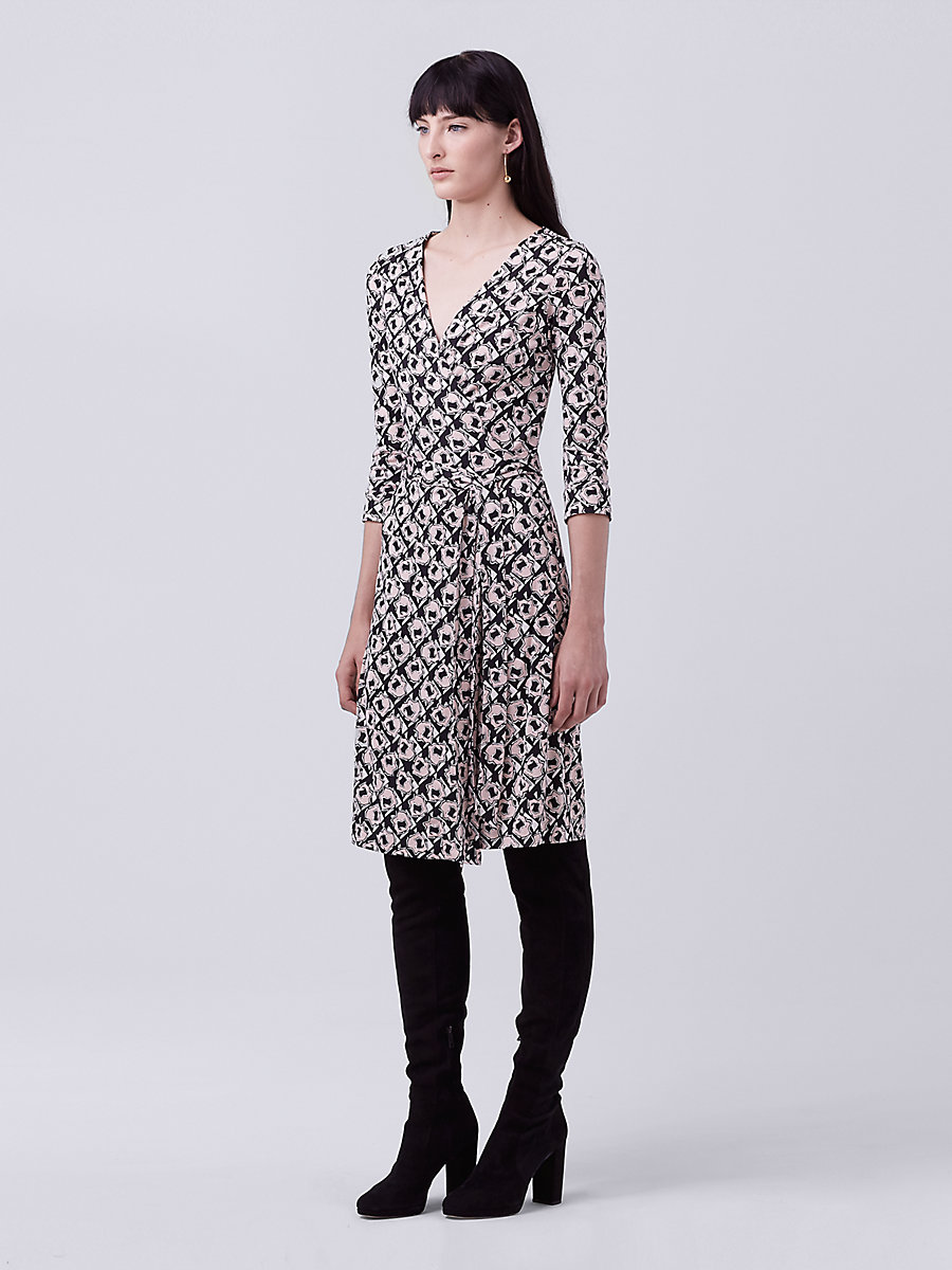 New Julian Two Silk Jersey Wrap Dress in Pommeau Petite Black by DVF