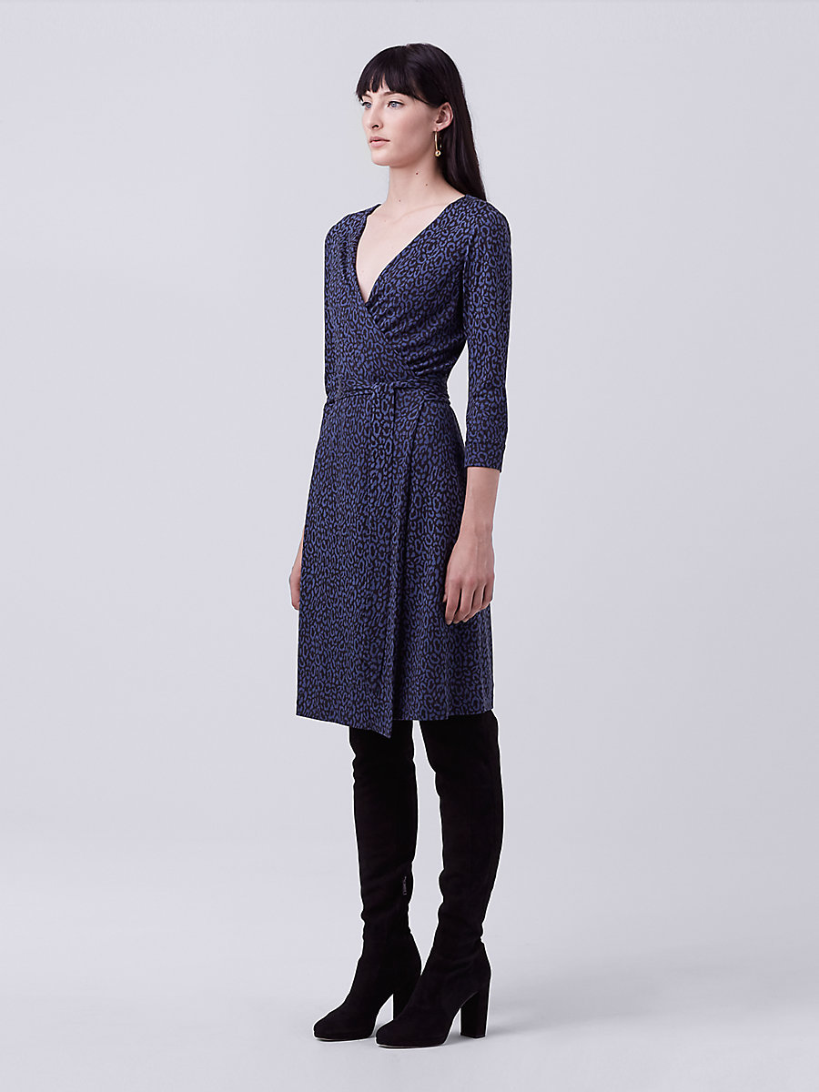 New Julian Two Silk Jersey Wrap Dress in Spotted Cat Mini Indigo by DVF