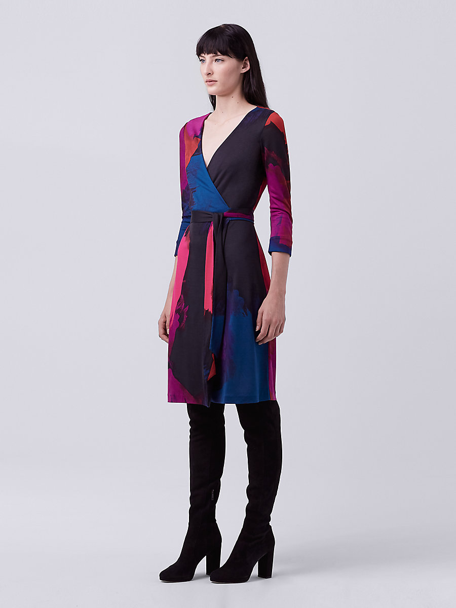 New Julian Two Silk Jersey Wrap Dress in Virtuoso Amethyst by DVF