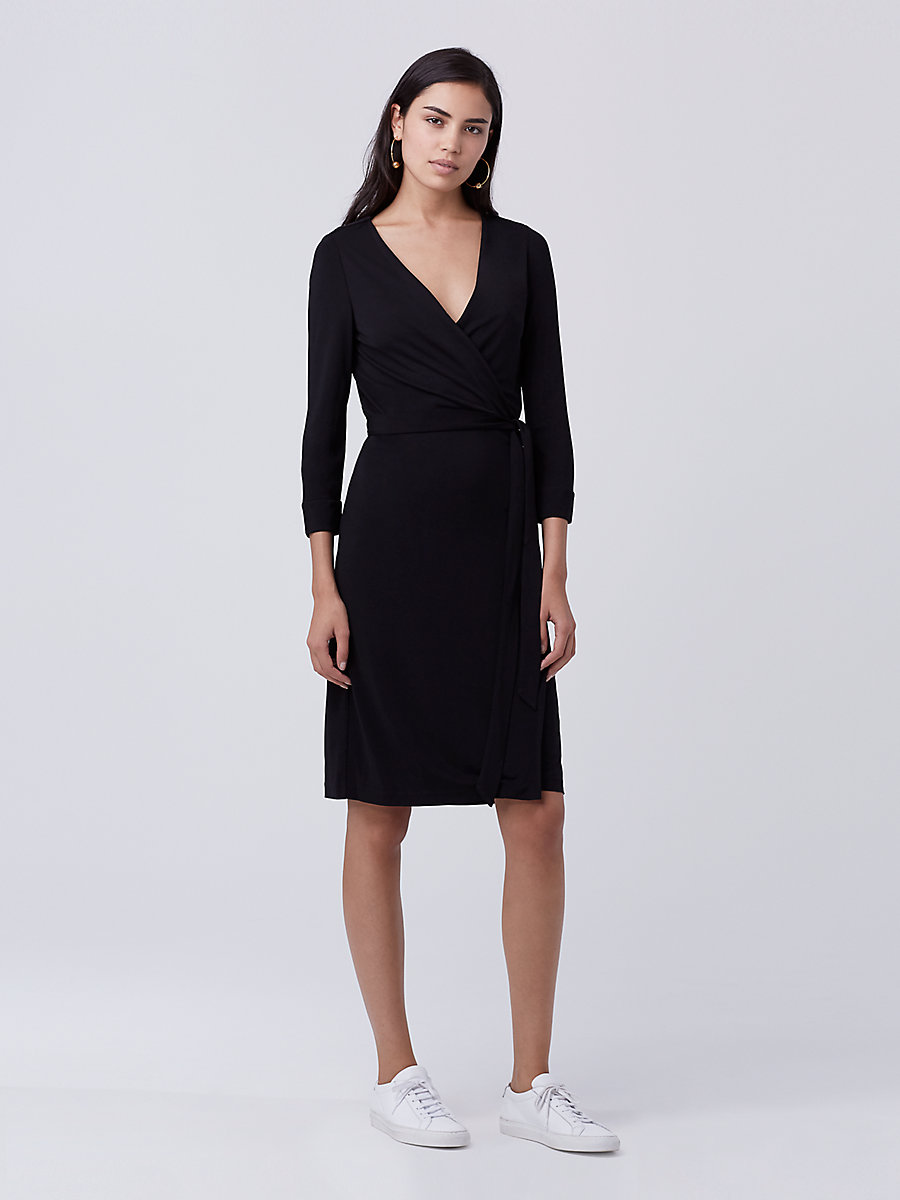 New Julian Two Matte Jersey Wrap Dress in Black by DVF