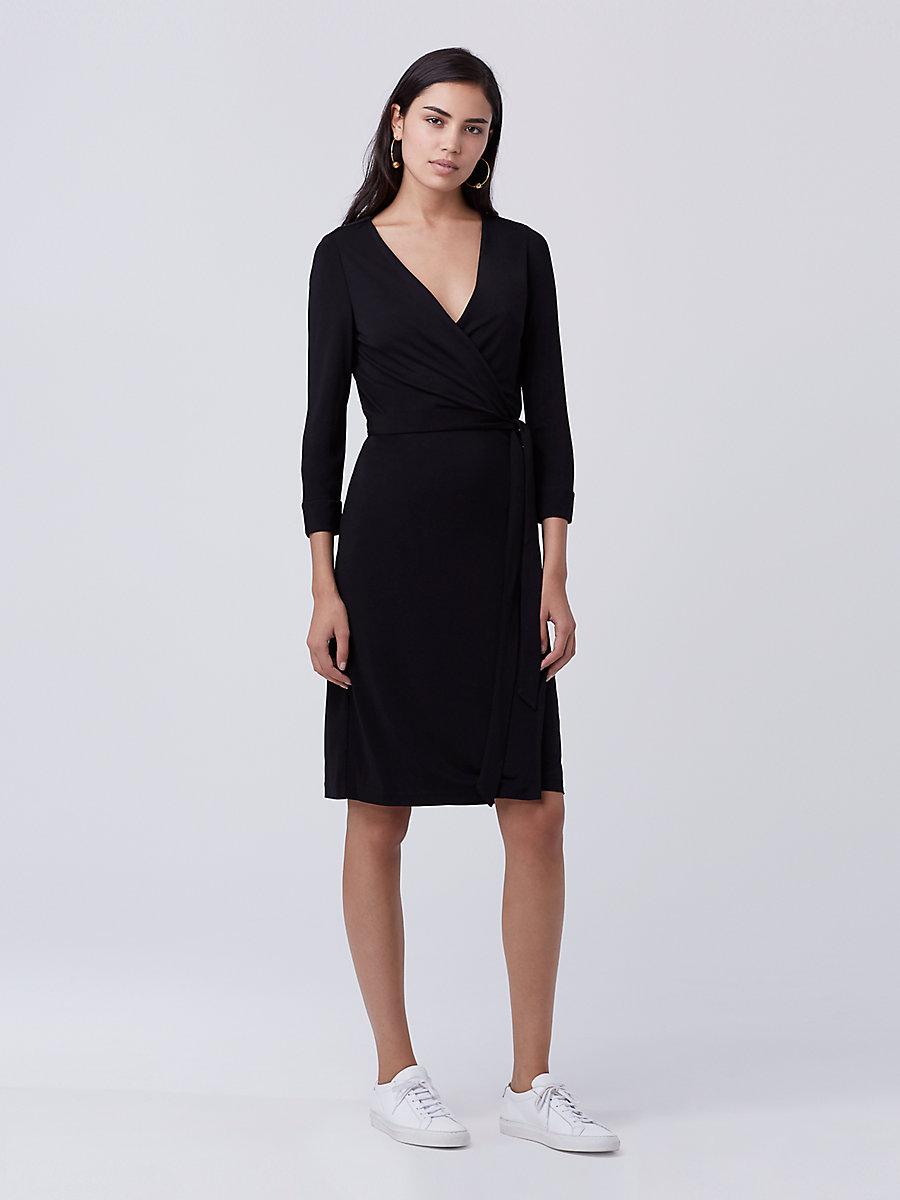 New Julian Two Matte Jersey Wrap Dress in Black by DVF