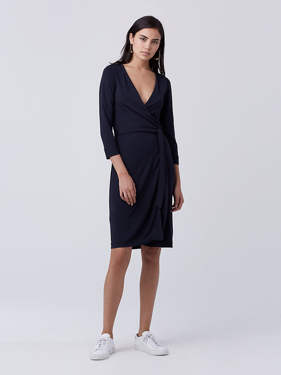 New Julian Two Matte Jersey Wrap Dress in Midnight by DVF