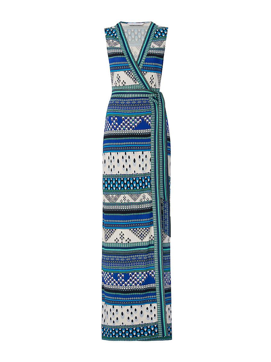 New Yahzi Long Silk Jersey Maxi Wrap Dress in Chevron Bands Blue by DVF