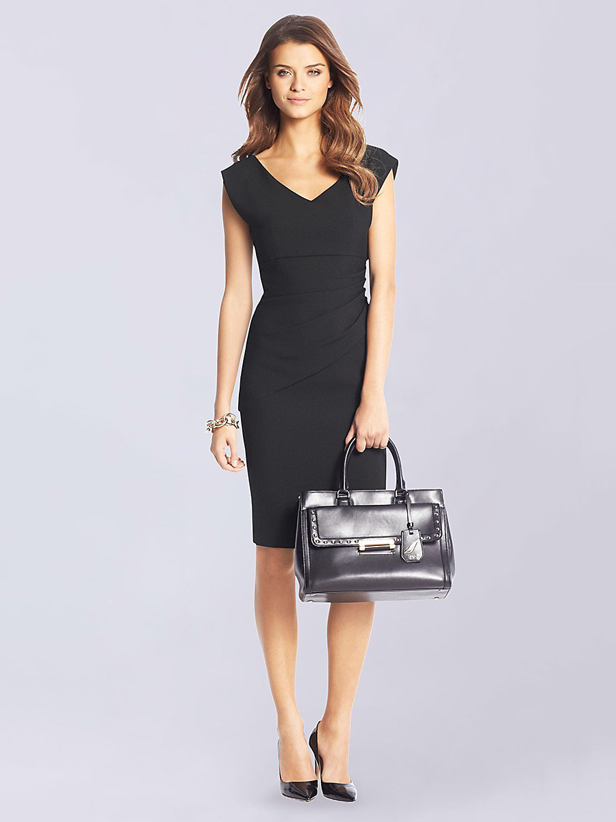 Bevin Sheath Dress in Black by DVF