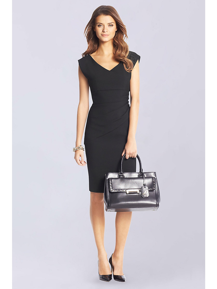 Bevin Ceramic Ruched Sheath Dress in Black by DVF