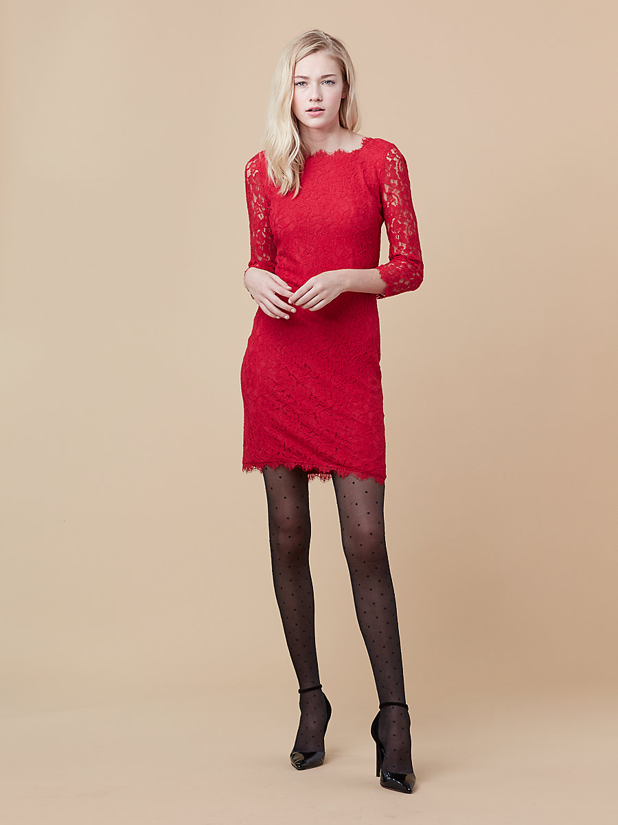 Zarita Long Lace Dress in Scandal Red by DVF