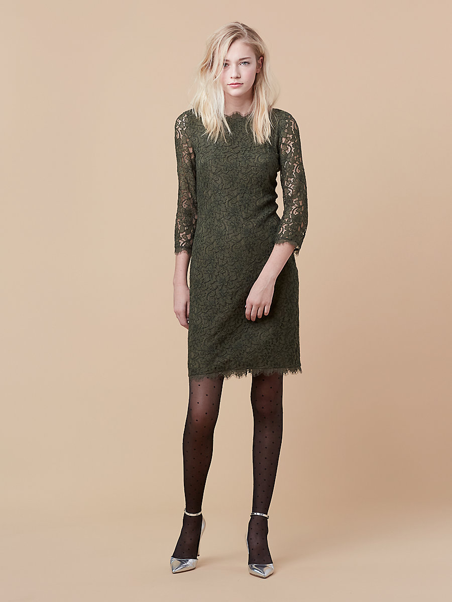Zarita Long Lace Dress in Olive by DVF