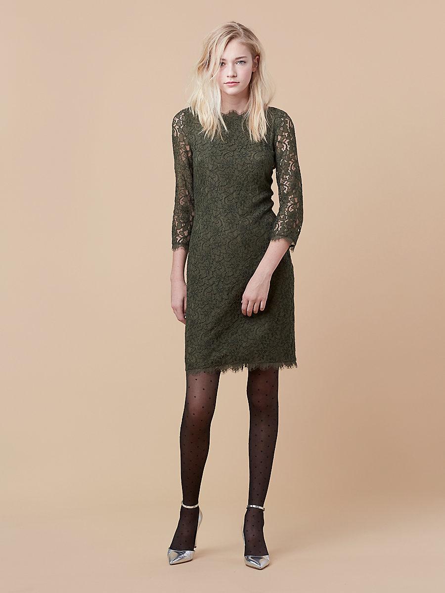 Zarita Long Lace Dress in Olive by DVF