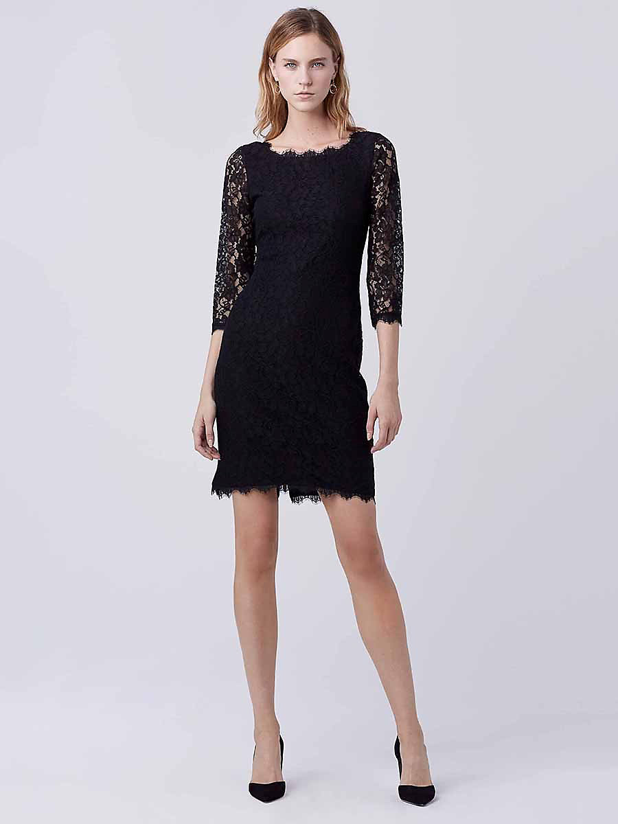 Zarita Long Lace Dress in Black by DVF
