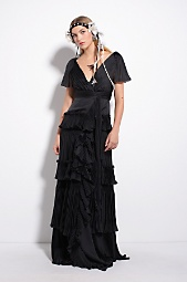 DIANE von FURSTENBERG - Mina Gown in Black :  womens layered pleated diane