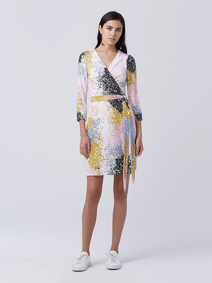 New Julian Two Mini Wrap Dress in Stella Fresco Rock by DVF