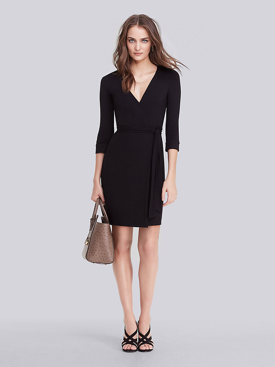 New Julian Two Mini Wrap Dress in Black by DVF