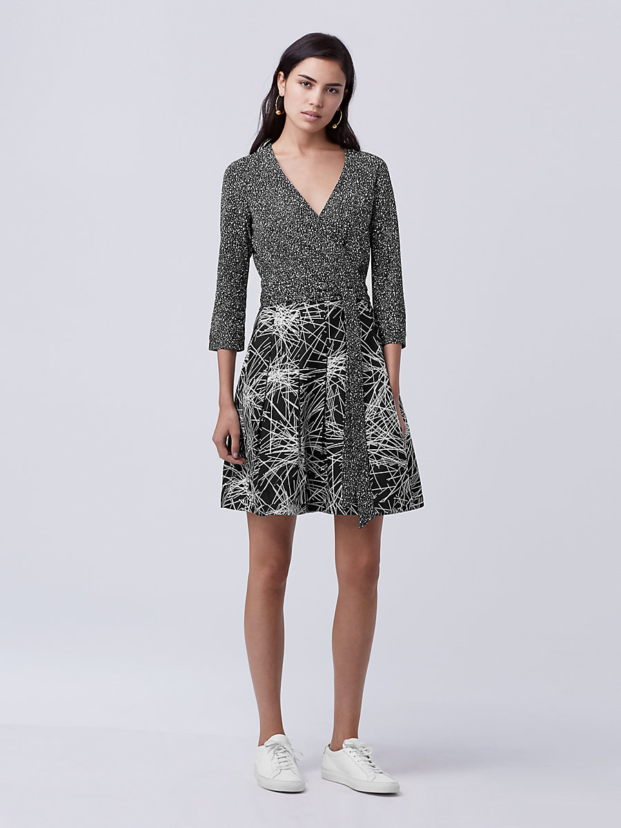 DVF Jewel Wrap Dress in Stella Mini Bk/light Beam Bk by DVF