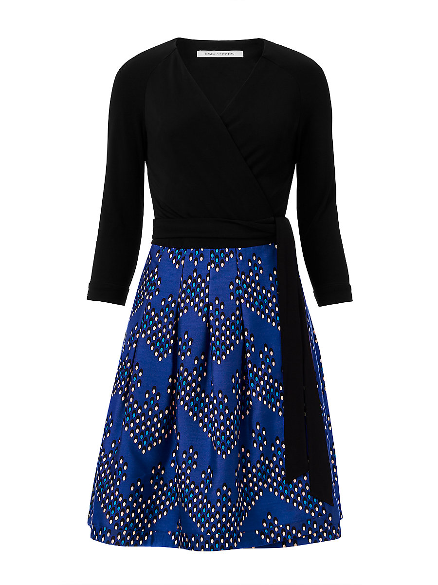 DVF Jewel Silk and Wool Wrap Dress in Black/ Chevron Dots Blue by DVF