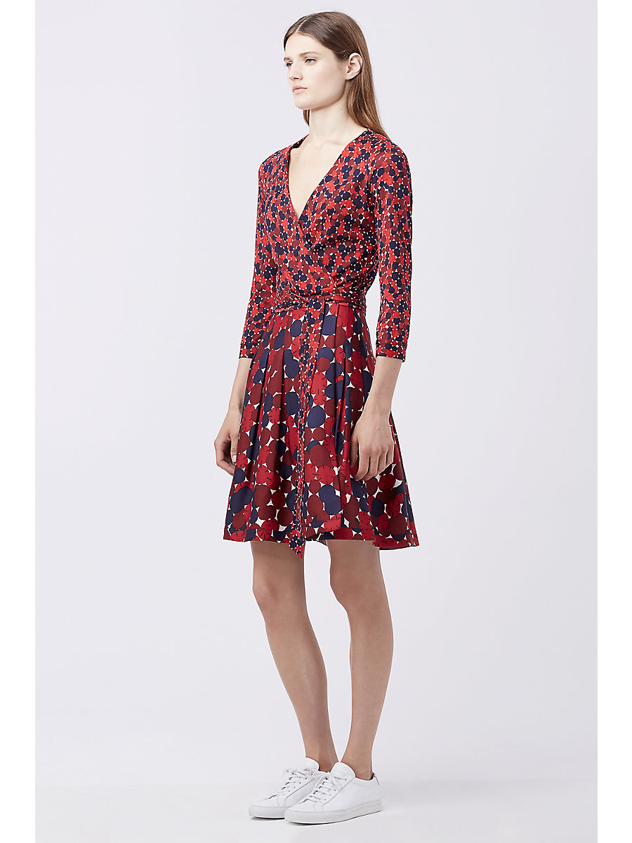DVF JEWEL SILK COMBO WRAP DRESS in Montage Mini Rubiate/montag Ru by DVF