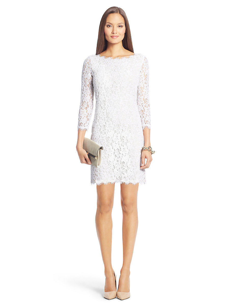 Zarita Lace Dress in White by DVF