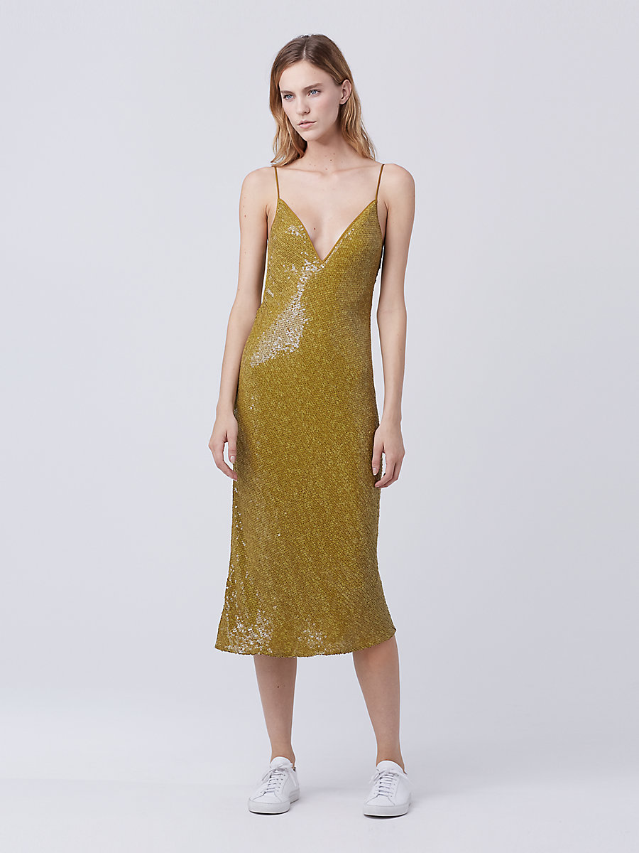 DVF Havita Embellished Slip Dress in Gold Patina by DVF