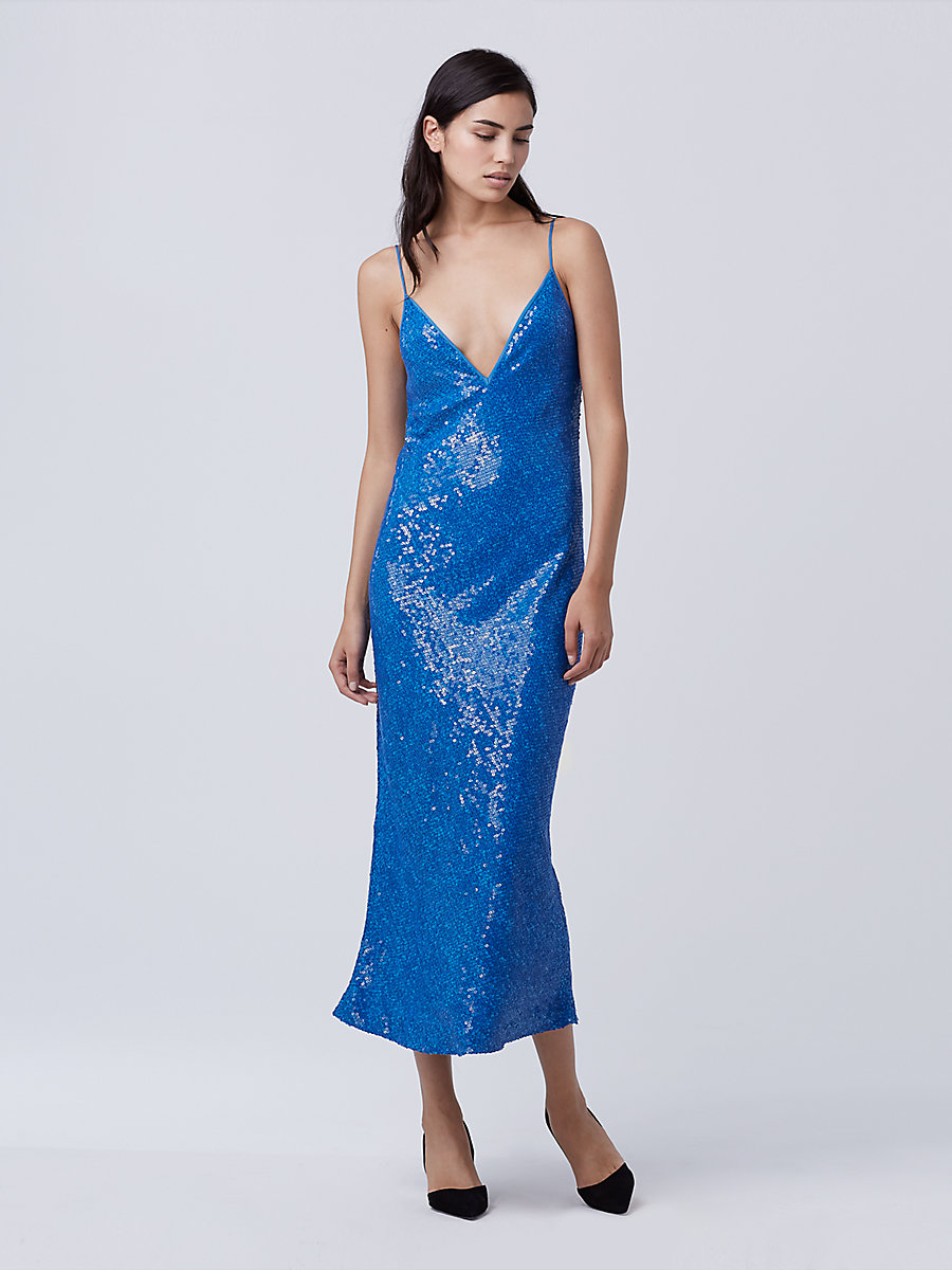 DVF Havita Embellished Slip Dress in Neptune Blue by DVF