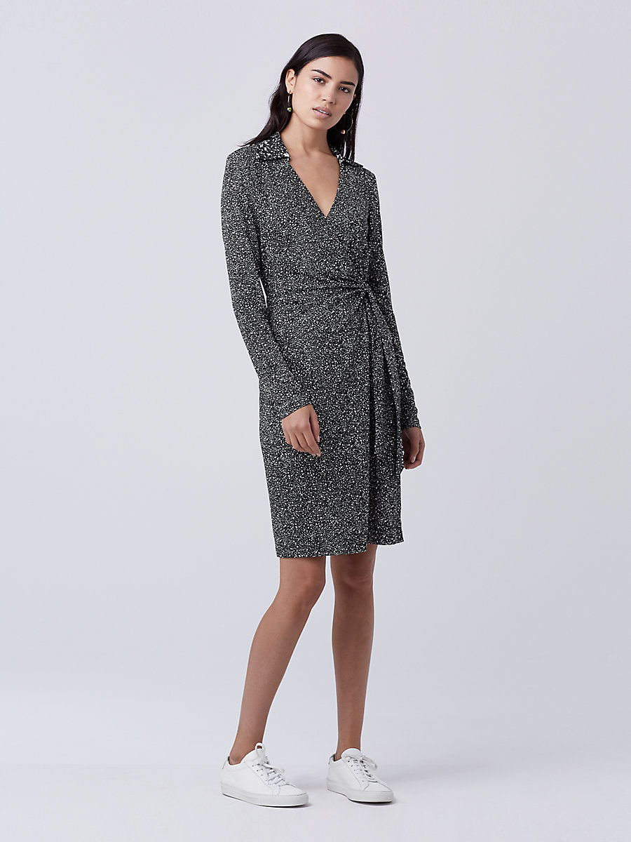DVF Jelsa Faux Wrap Dress in Stella Mini Black/ Stella Black by DVF
