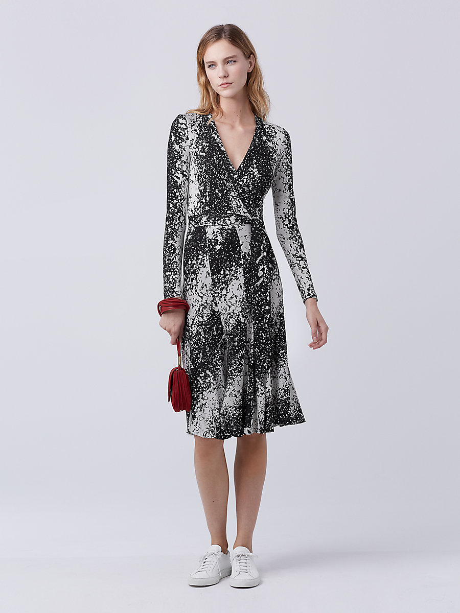 DVF Lilyann Silk Jersey Wrap Dress in Stella Black by DVF