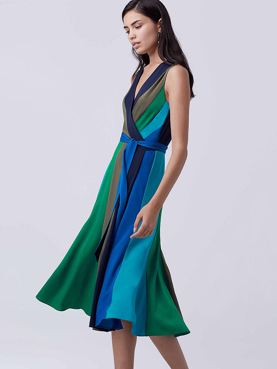 DVF Penelope Silk Wrap Dress in Deep Night/ Olive/ Sea Green by DVF