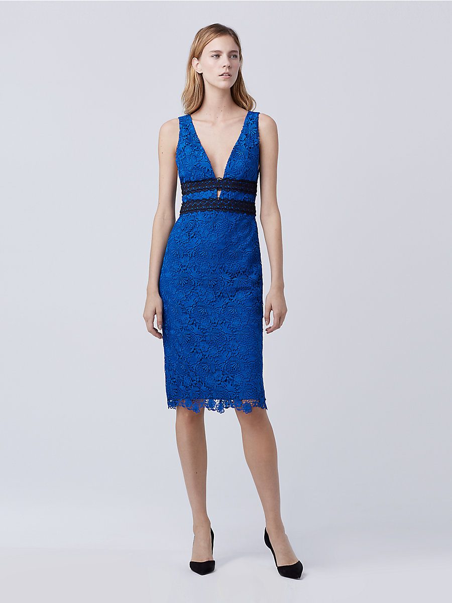 DVF Viera Lace Dress in Neptune Blue/ Black by DVF