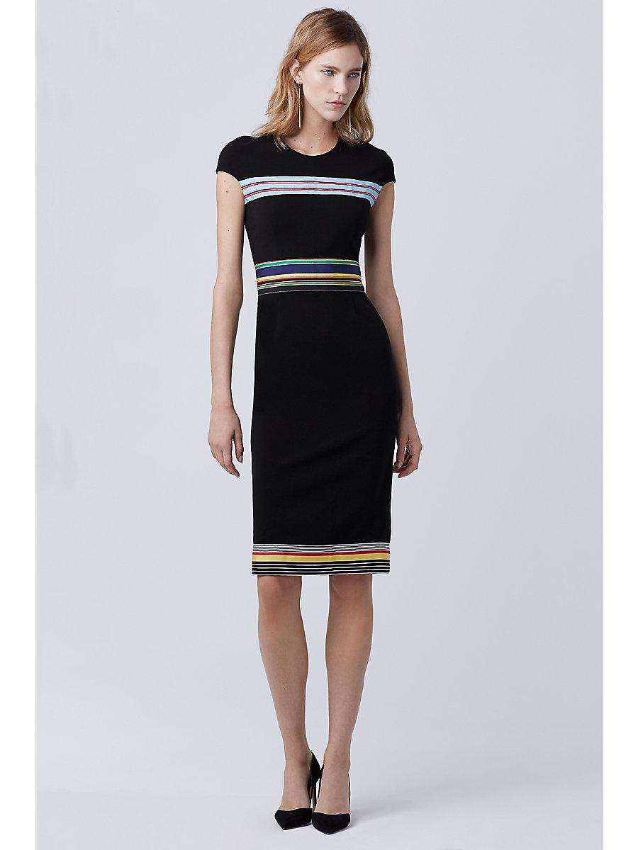 DVF Hadlie Dress in Black/multi by DVF