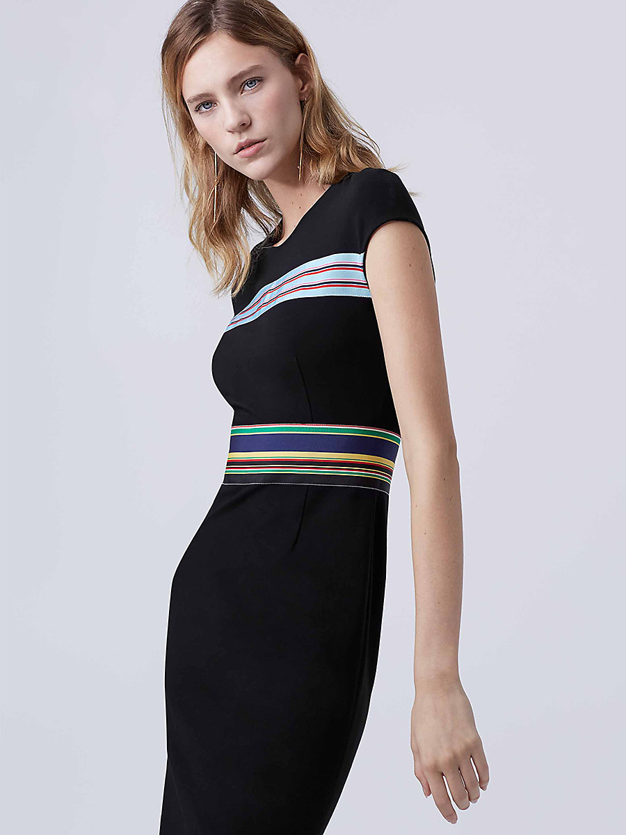 DVF Hadlie Dress in Black/multi by DVF