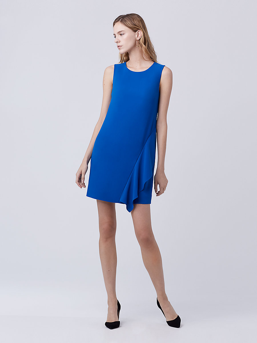 DVF Wylda Shift Dress in Neptune Blue by DVF