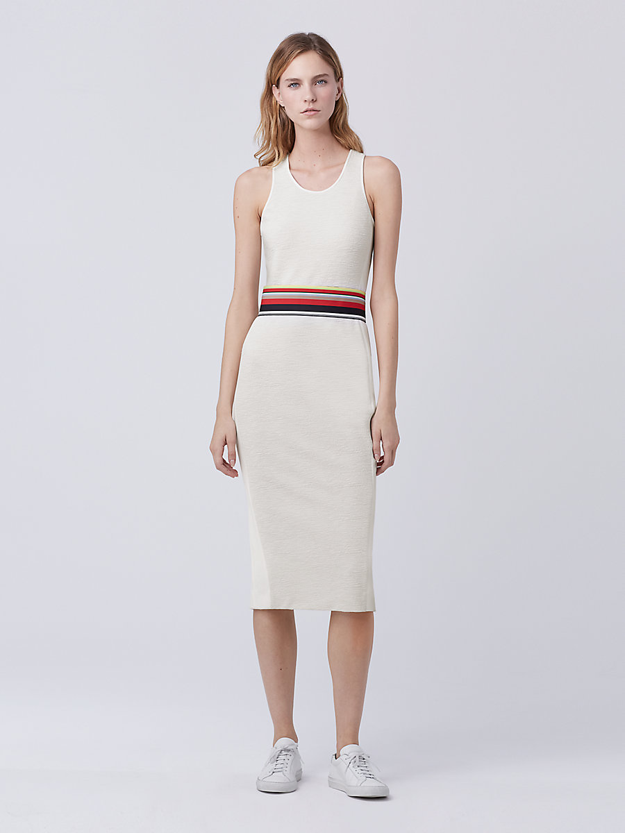 DVF Teyla Fitted Dress in Canvas White/canvas White by DVF