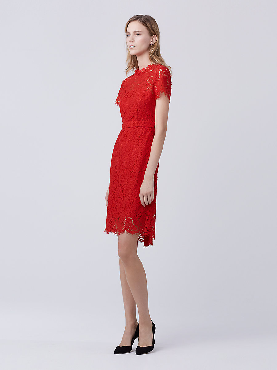 DVF Alma Lace Dress in Scandal Red by DVF