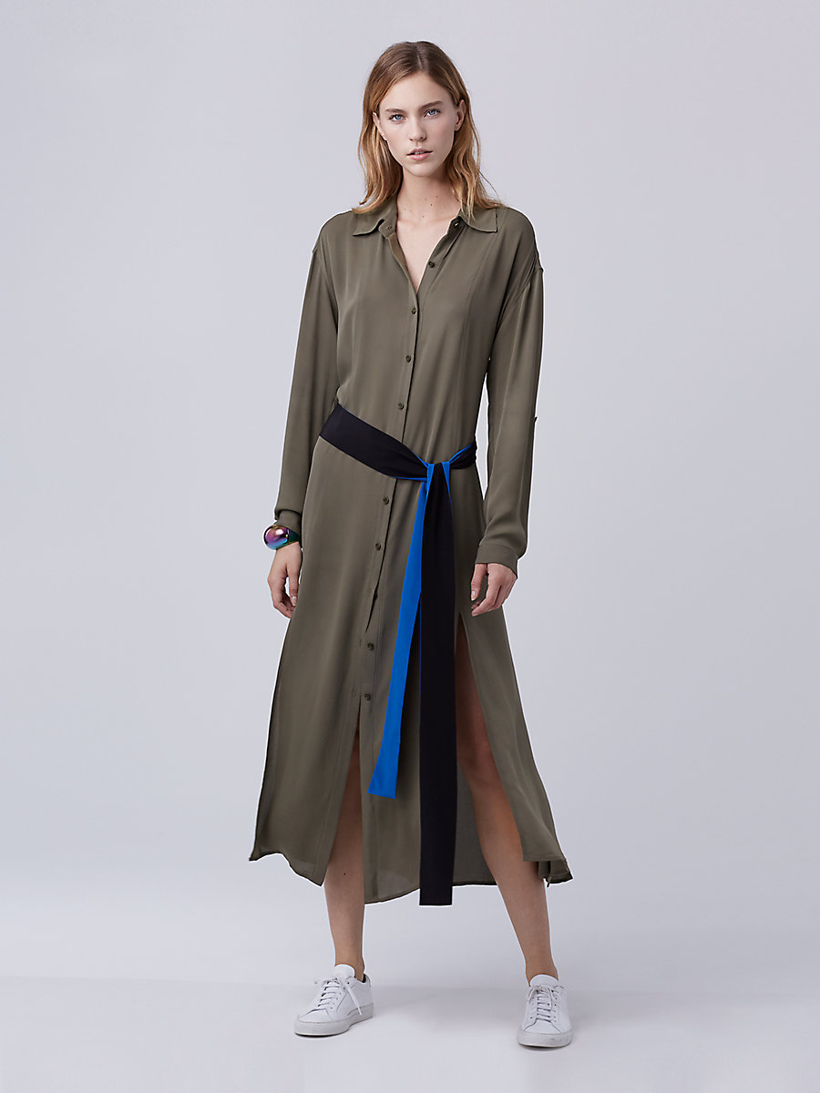 DVF Clarise Midi Shirt Dress in Olive by DVF