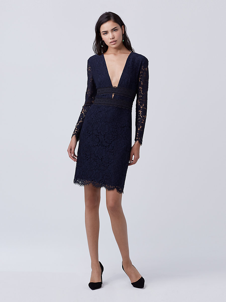 DVF Viera Lace Dress in Deep Night/black by DVF