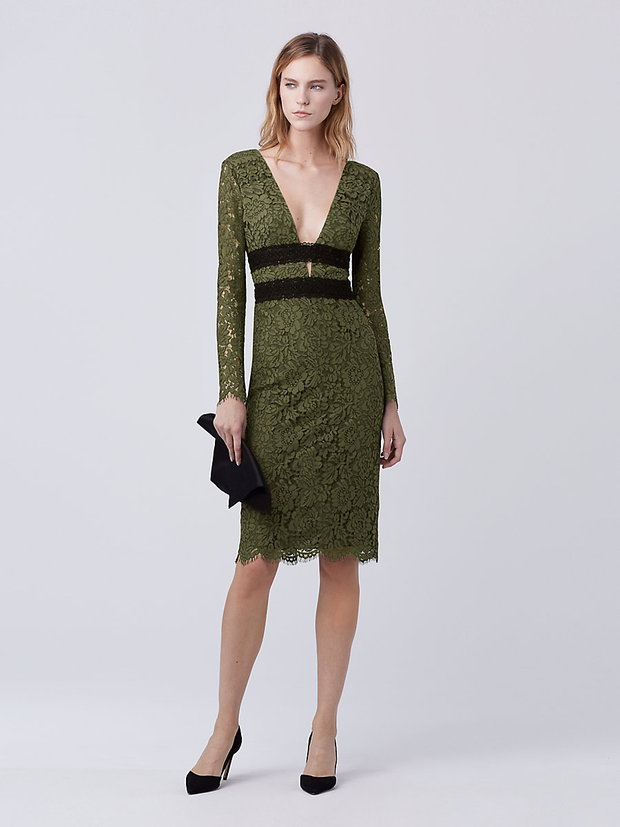 DVF Viera Lace Dress in Olive/ Black by DVF