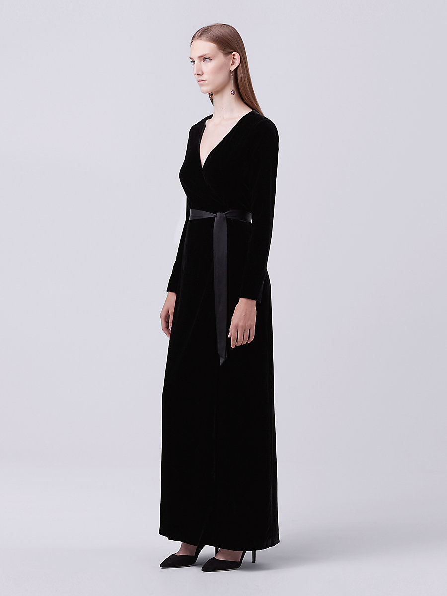 Julian Long Velvet Wrap Dress in Black by DVF