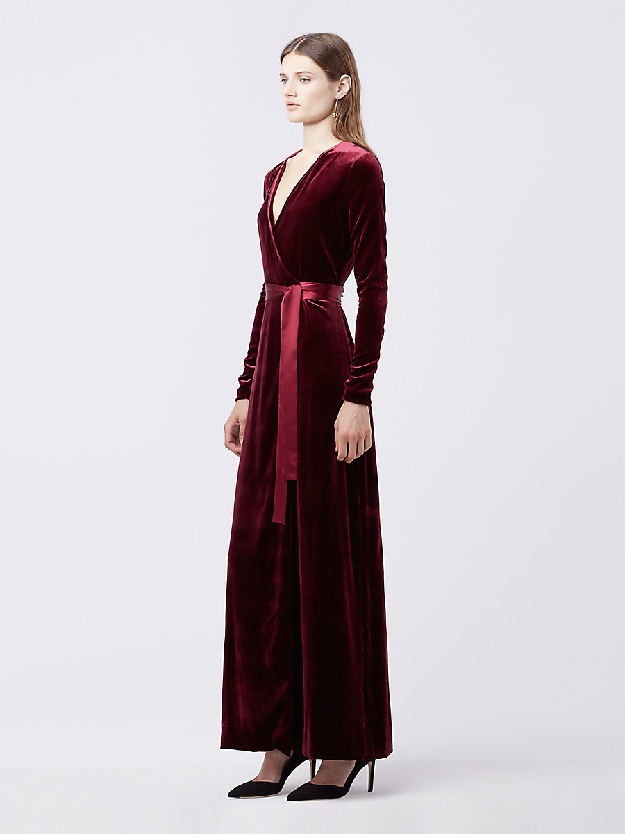 Julian Long Velvet Wrap Dress in Burgundy by DVF