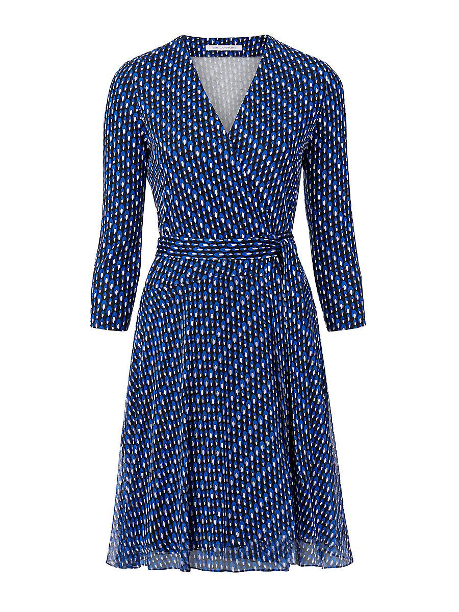 Irina Silk Jersey and Chiffon Wrap Dress in Diagonal Dots by DVF