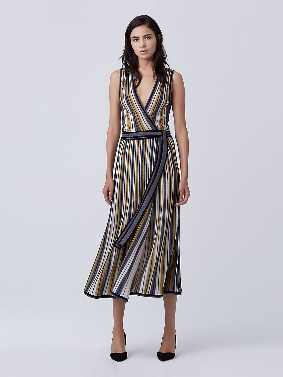 DVF Cadenza Knit Wrap Dress in Gold Multi by DVF