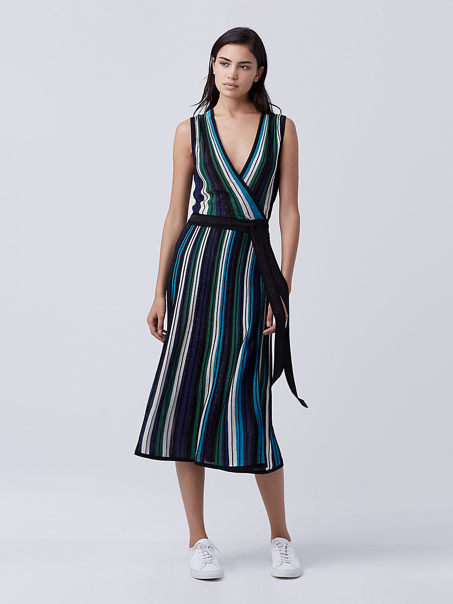 DVF Cadenza Knit Wrap Dress in Blue Multi by DVF