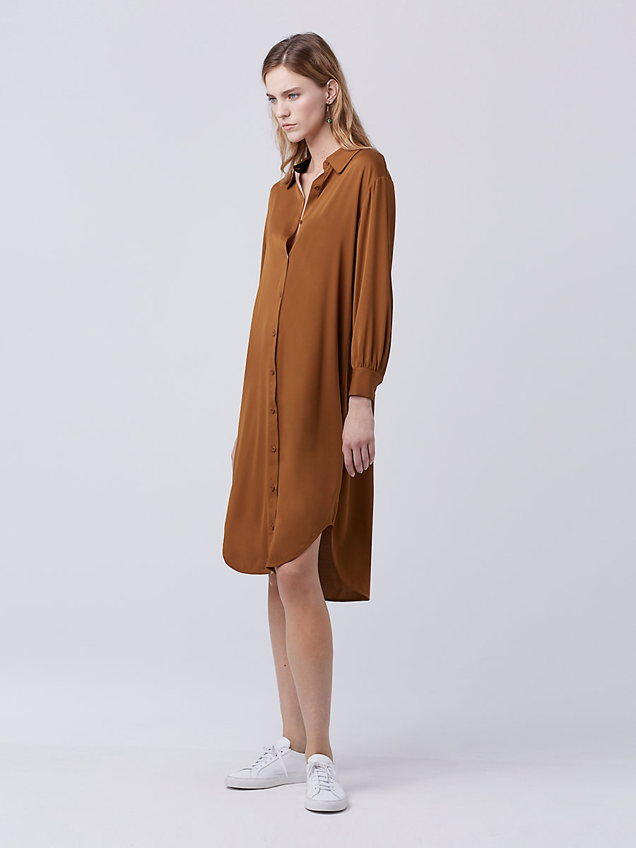 DVF Tressa Shirt Dress in Copper by DVF