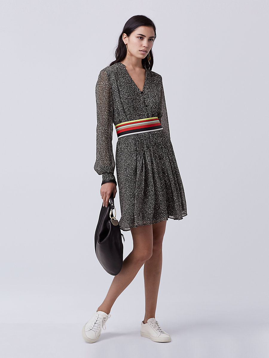 DVF Kourtni Chiffon Tunic Dress in Stella Mini Black by DVF