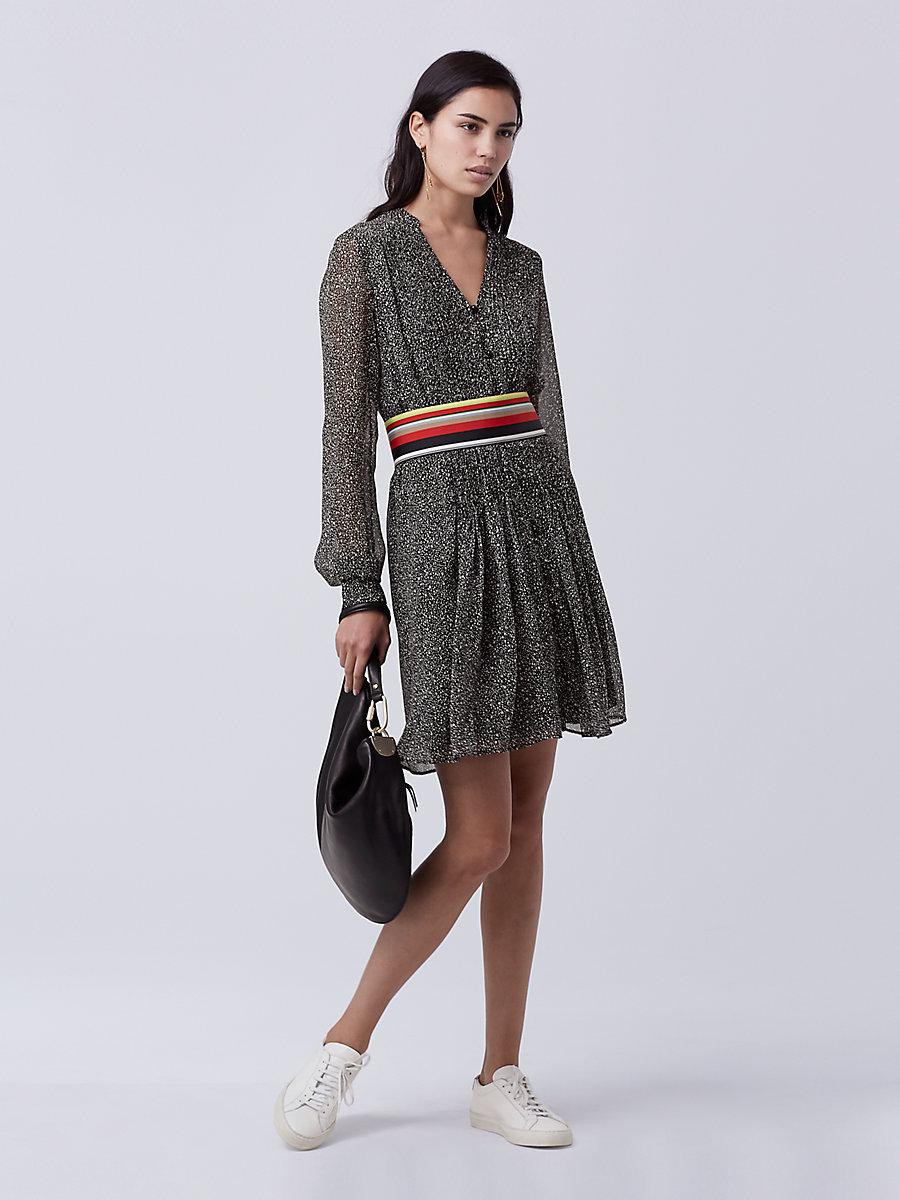 DVF KOURTNI CHIFFON TUNIC DRESS in Stella Mini Black by DVF