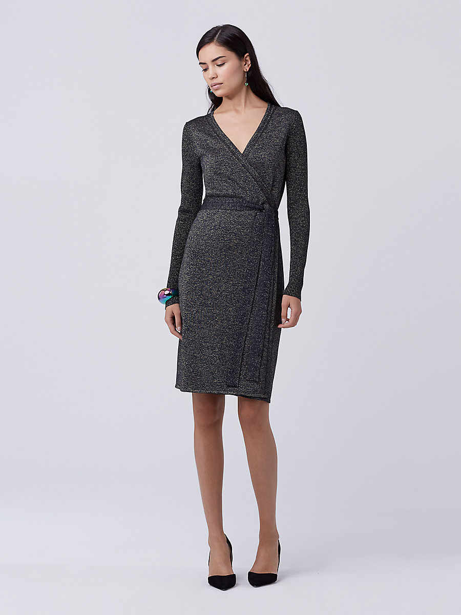 DVF Evelyn Metallic Knit Wrap Dress in Navy/gold by DVF