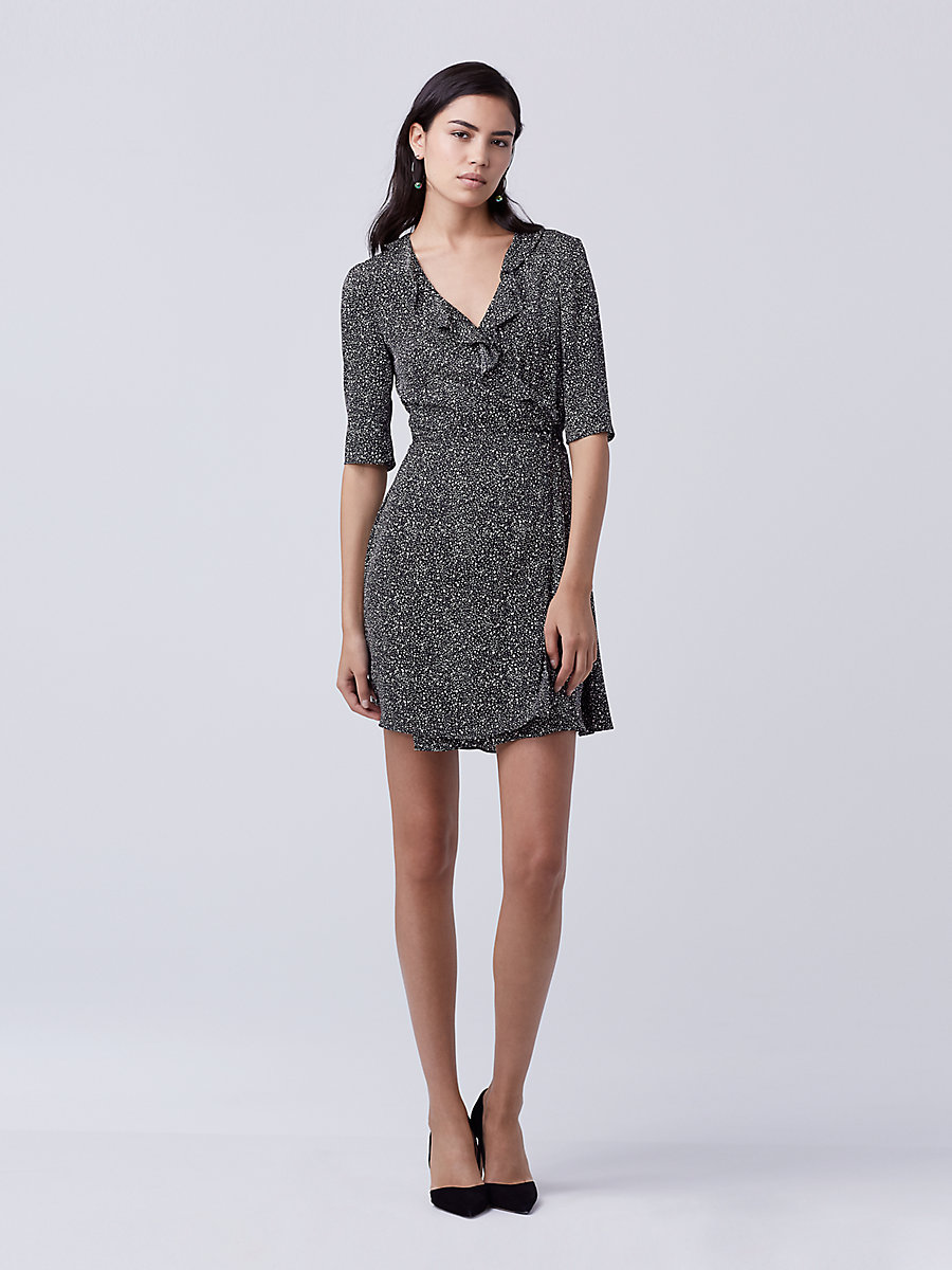 DVF Savilla Silk Wrap Dress in Stella Mini Black by DVF